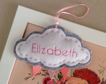 CLOUDS with Embroidery baby name / birthday date on felt cloud