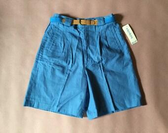 SKY BLUE linen shorts | high waist pin tucked tap linen shorts