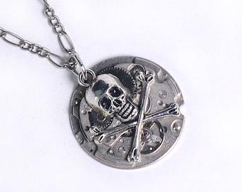 Steampunk Skull n Cross Bones Necklace