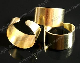 Premium Quality Sturdy Adjustable Ring Shank Blank RAW Natural Brass RN-AJ10RB- 2pcs