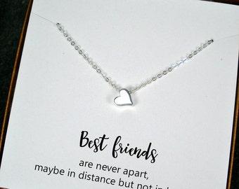 Best Friend Gift, Best Friend Jewelry, Long Distance, Friendship Gift, Best Friend Birthday Gift, Best Friend Christmas Gift, Heart Necklace