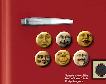 """MOON Faces Victorian vintage card 6 Hand Pressed one inch 1"""" photo Fridge Magnets"""