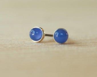 Titanium Earrings Studs / Allergy Free Earrings for Metal Allergies / Gemstone Bezel Studs - Blue Onyx Gemstone 4mm