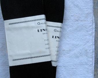 vintage french milliner's ribbon, hat maker's ribbon, black grosgrain ribbon, thin ribbon, new old stock