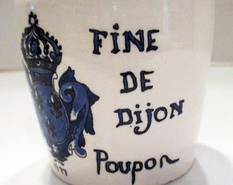 Marque et Modele, Grey Poupon Mustard Jar, French porcelain, collectible, useful, decorative, Blue and White