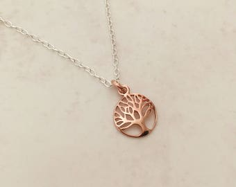 Rose Gold And Sterling Silver Tree of Life Necklace
