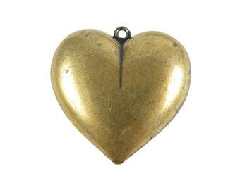 Huge Vintage Antiqued Brass Puffy Heart Pendants (4x) (V383)