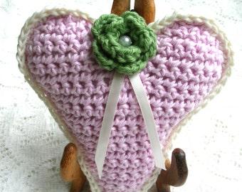 Pink Crochet Heart Decoration –Stuffed Rustic Heart Decoration - Large Crochet Ornament - Friend Gift