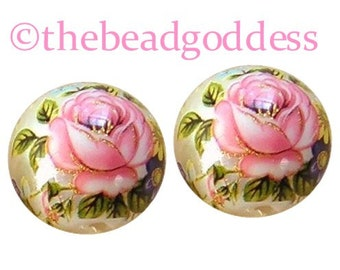 NEW Pair Japanese TENSHA Beads Pink Rose on Pearl 12mm