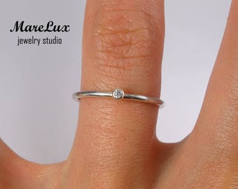 Diamond Stackable Silver Ring, April Birthstone Synthetic Diamond Ring, 1.5 mm White Cubic Zirconia Ring, Silver CZ Ring Tiny Stacking Ring