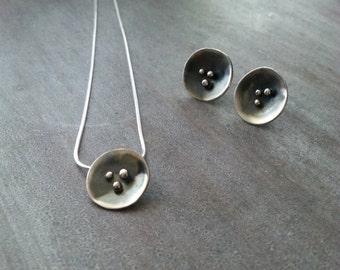 Sterling silver Scoop pendant and earrings - handmade