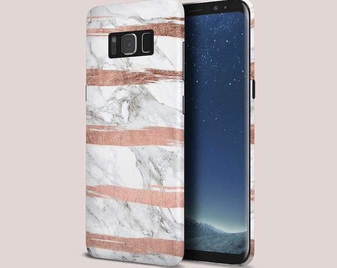 Featured listing image: Rose Gold Stripes x White Marble Phone Case - Google Pixel II Phone Case - Protective Slim Phone Case - Galaxy s9 Phone Case - Case Escape