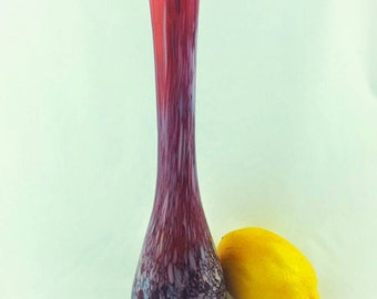 Vintage Red Art Glass Bud Vase Ruffled Abstract Confetti FREE SHIPPING