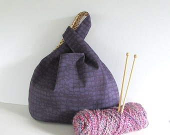 Knitting bag, Knitting tote - purple handbag, Gift for knitters Sweater knitting bag, Japanese knot bag,