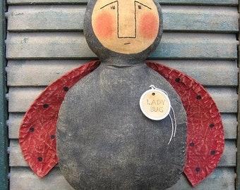 Ladybug EPATTERN -primitive country spring summer doll crafts digital download sewing pattern- PDF-1.99