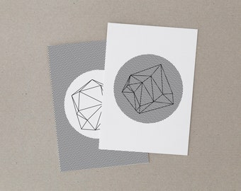 Postcard set of 2 cards - geometric graphic mathematical motifs - abstract triangles - striped pattern - minimal print - low poly style