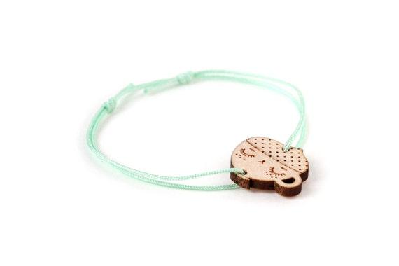 Cappuccino bracelet - 25 colors - cute coffee cup bangle - adjustable length - lasercut maple wood - kawaii teacup jewelry - customizable