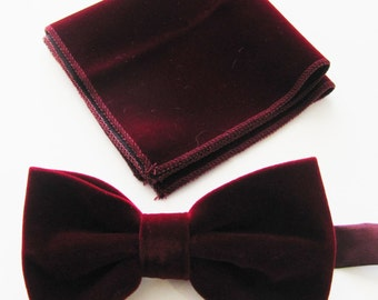 Mens Fancy Burgundy, Wine Velvet Adjustable PreTied Mans Bow Tie With Matching Pocket Square