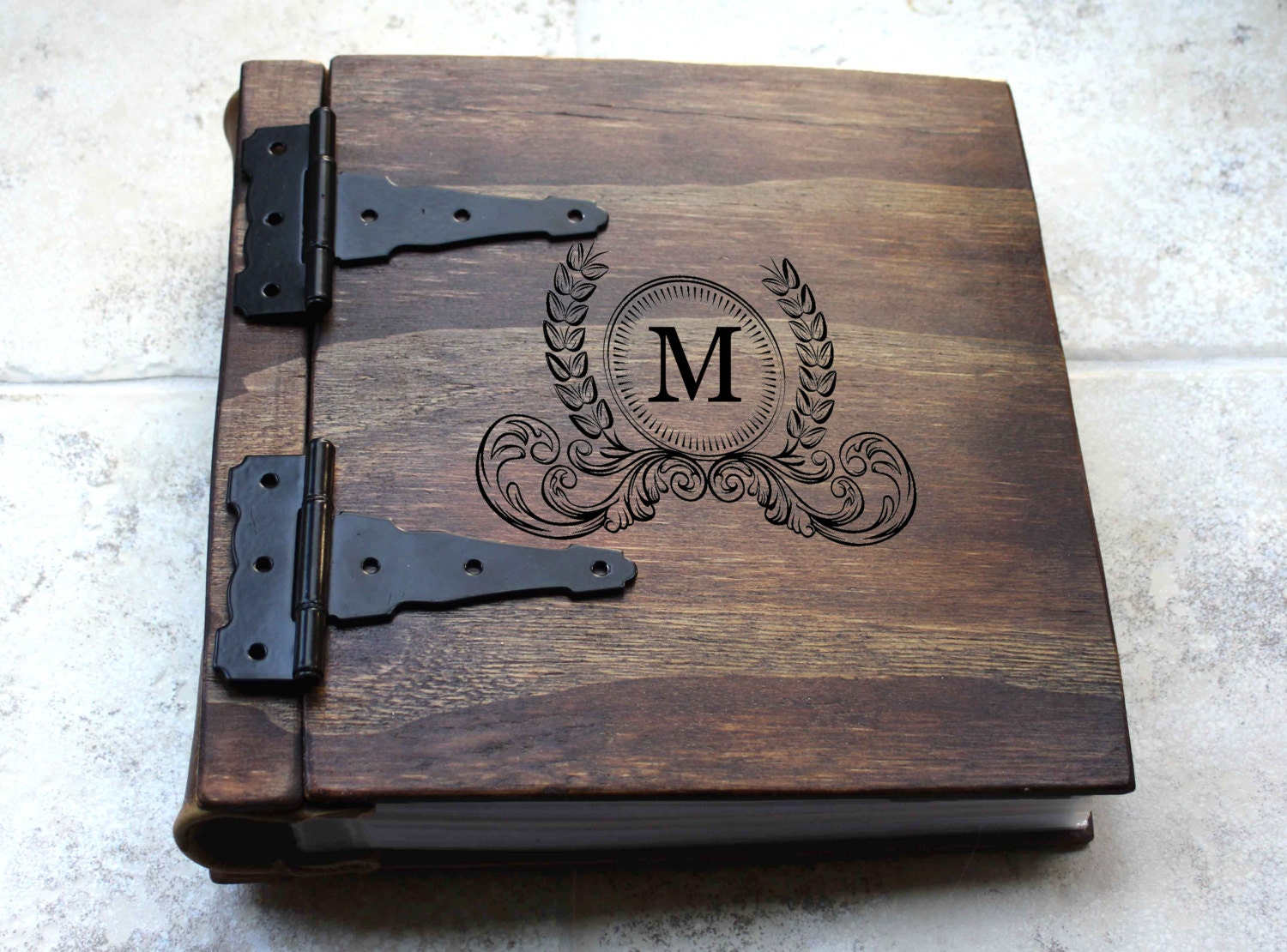Wooden Book Cover Diy : Unique wood photo album journal monogram artist portfolio