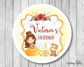 Princess Belle Stickers, Beauty and the Beast Labels . Personalized Belle Favor Tags, Beauty & the Beast Birthday Party Tags