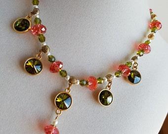 Sparkling Swarovski Crystal Olivine Peach Tassel Necklace, OOAK, Wearable Art, Beaded Colorful Necklace, Long Dangle Crystal earrings