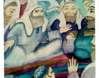 Judaica- purim- Meguilat Esther Illustration on parchment.