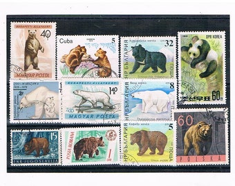 Bears on Postage Stamps - panda, polar bear, brown bear, grizzly etc | vintage wildlife topical postal stamps | for craft, upcycling, cards
