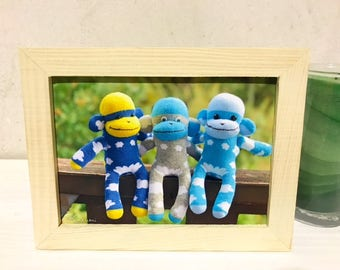 Framed Photo Print: Triplets Sock Monkey