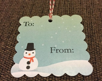Snowman gift tags - can be personalized- set of 20 tags