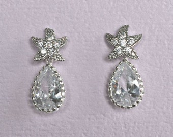 Cubic Zirconia CZ Starfish Dangle Earrings, Destination or Beach Wedding, Bridal (Sparkle-1845 )