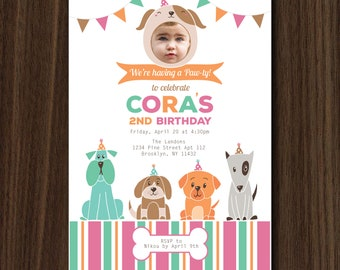 DIGITAL FILE Puppy Pawty Invitation, Puppy Birthday Invite, Puppy Theme, Doggie Invitation, Doggie Birthday, Doggie Theme Invitation 5x7 in.