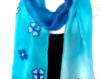 "Hand Painted Silk Scarf, Medium Blue Turquoise, Floral Silk Scarf, 71"" x 18"", Gift Under 40"