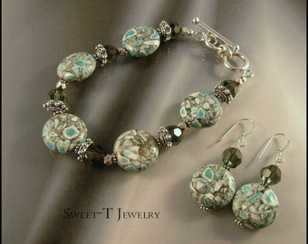 FREE SHIPPING - Matrix Turquoise and Sterling Silver Bracelet Set