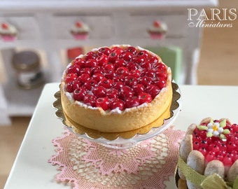 MTO-Cherry Tart - Tarte aux Cerises - Miniature Food in 12th Scale for Dollhouse