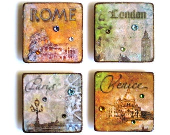 European Cities Fridge Magnets Set of Four Decoupaged Decor London Paris Rome Venice Hostess Gift Housewarming Gift