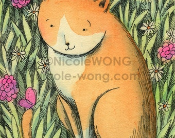 Original ACEO Watercolor Painting and Ink Drawing Artwork -- Hello