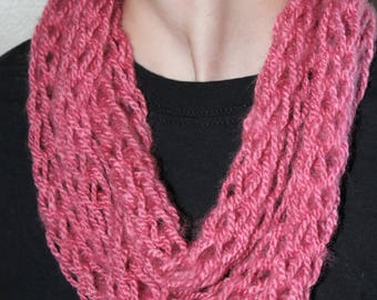 Dusty Pink Finger Knit Infinity Scarf
