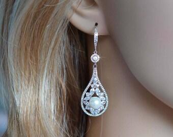 Handmade Vintage Inspired Fancy Cut Cubic Zirconia CZ & Pearl Teardrop Chandelier Dangle Bridal Earrings, Bridal, Wedding (Pearl-846)