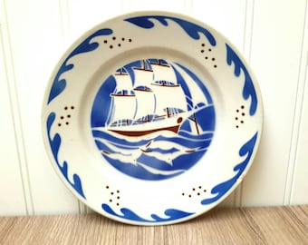 K&G Toulon Clipper Ship Plates circa 1920s Set of Four French Faience Plates from Luneville France  Beautiful French Farmhouse Decor