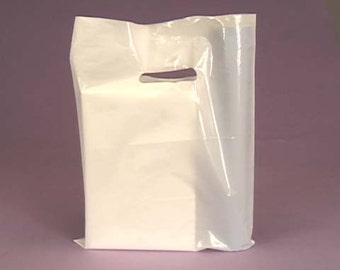 50 Pack White Handled 9 X 12 inch Plastic Merchandise Bags