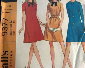 Vintage 60s McCall's 9377 Dress Pattern-Size 12 (34-25 1/2-36)
