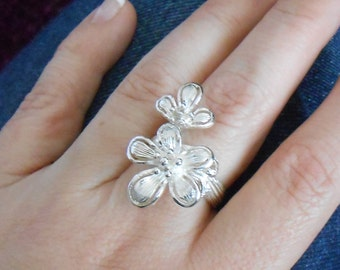 Bold and feminine cherry blossom ring in sterling silver