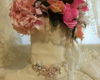 Beautiful  Shabby Chic Boot Floral Arrangement