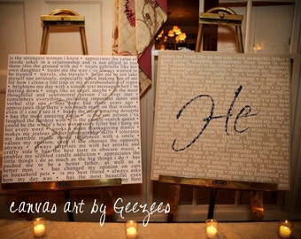 TWO Canvases Wedding Sign Reception art She said He Said Word Art Custom Canvas -Mr & Mrs His Hers Personalized Couple Gift