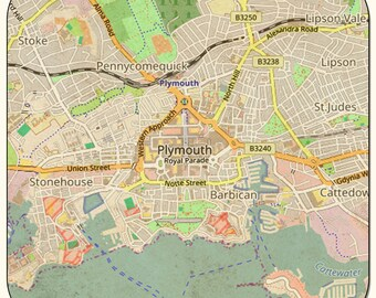 plymouth vintage map coasters magnets key rings prints