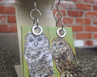 Hazel the Spotted Owl - Hand-Painted Disc bird earrings Portland Audubon Society