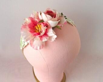 Floral crown, silk flower wreath, halo, bridal headpiece, wedding hair accessories,  Style 429