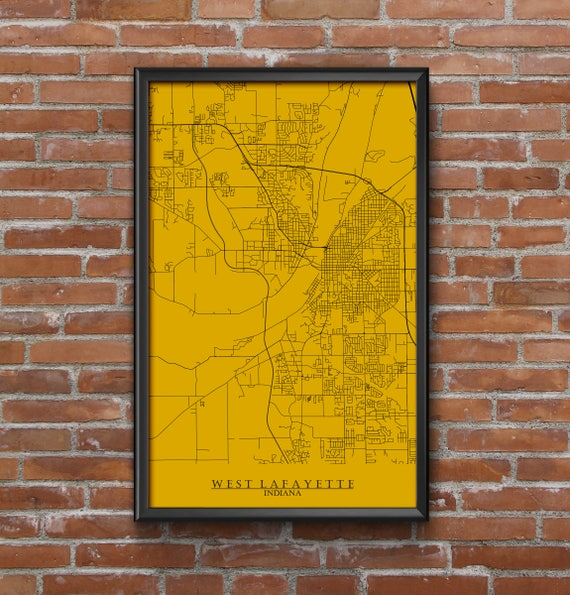 West Lafayette Indiana Map Art Purdue University