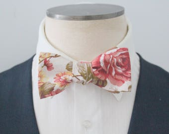 Dusted Rose Floral Bowtie with Silk Reverse