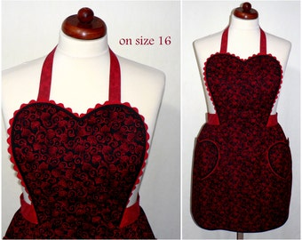 """50s-Style Sweetheart Apron """"Valentine Scroll"""" Flirty Pin Up Apron, Sexy Apron,  one size fits most, made to order (not already sewn)"""